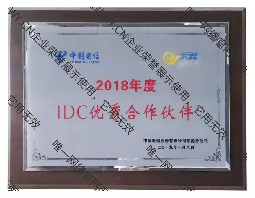 """东莞电信""""IDC优秀合作伙伴"""""""