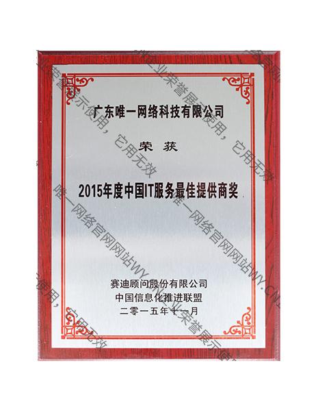 2015年度中国IT服务最佳提供商奖
